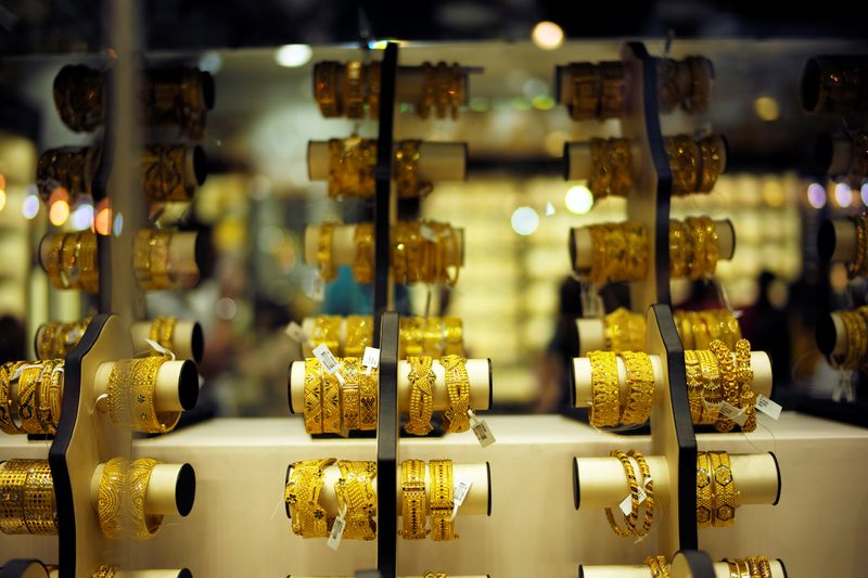Gold bangles are displayed at a gold shop in Gold Souq in Dubai
