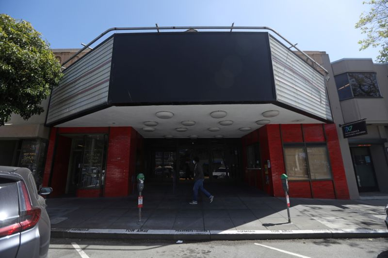 A closed CineArts Empire theater is seen in San Francisco