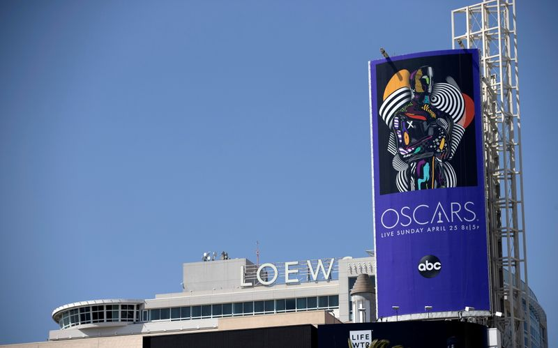 An Oscars billboard is pictured by the Hollywood and Highland complex ahead of the 93rd Academy Awards in Los Angeles