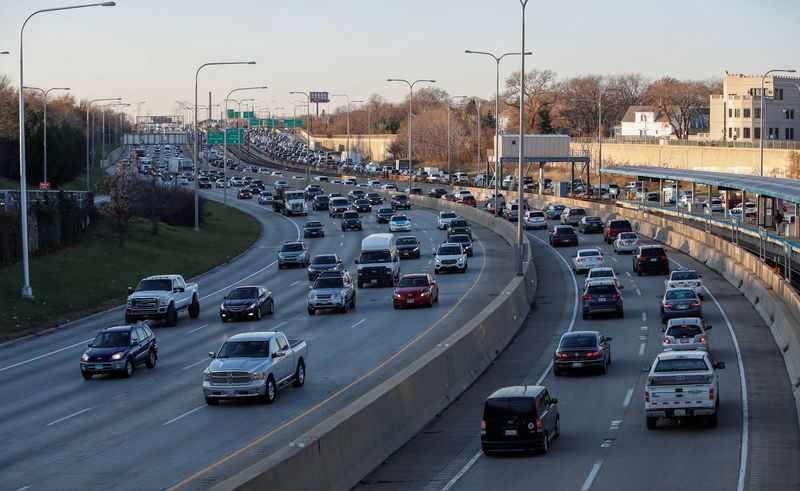 Cars fill the road as people travel before the Thanksgiving Day holiday in Chicago