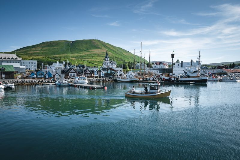 View of Husavik, a small fishing town in northern Iceland