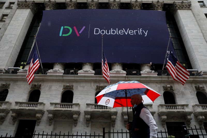 A DoubleVerify Inc. banner is displayed, to celebrate the company's IPO, on the front facade of the New York Stock Exchange (NYSE) in New York