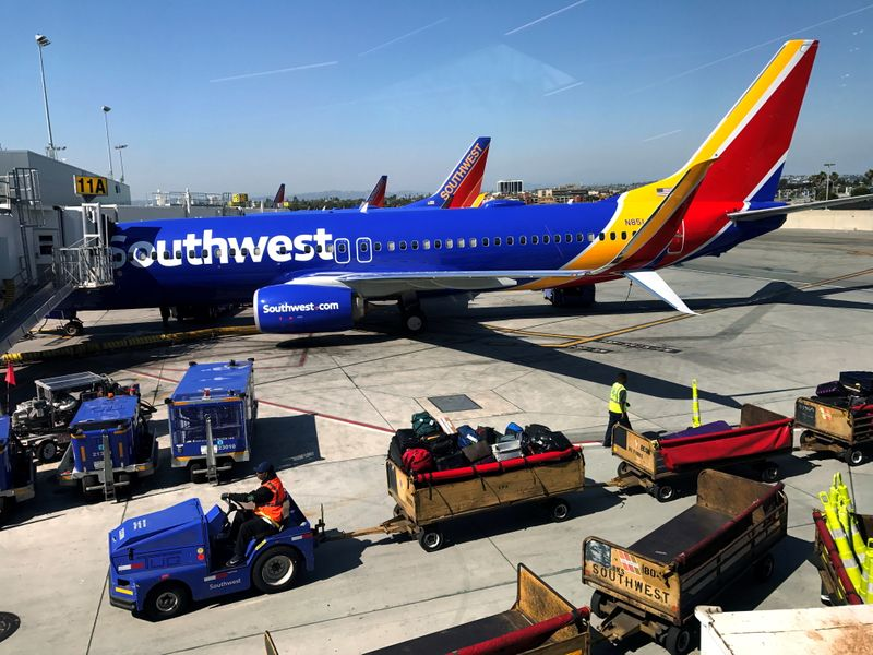 FILE PHOTO: Southwest Airlines Boeing 737 plane is seen at LAX in Los Angeles