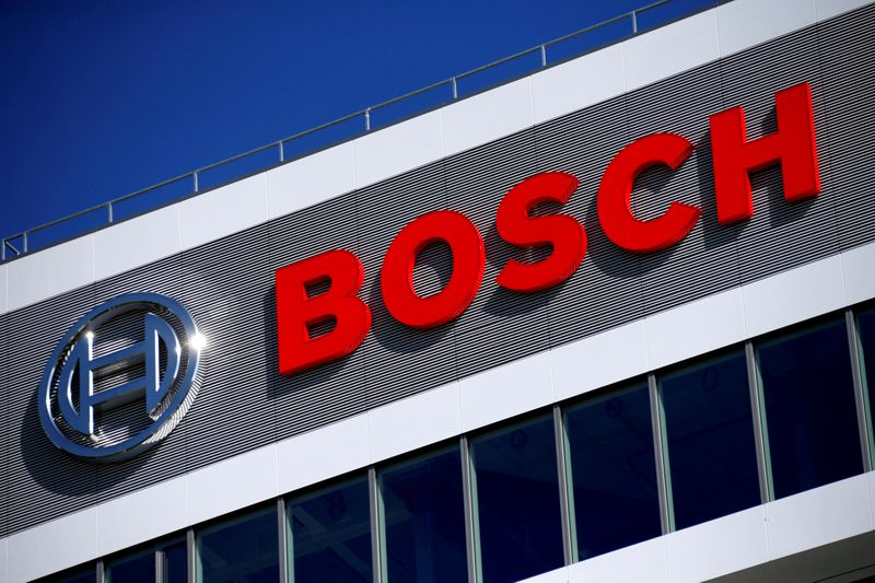 FILE PHOTO: FILE PHOTO: The Robert Bosch logo at the company's research and development centre in Renningen
