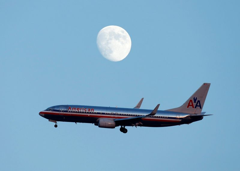FILE PHOTO: An American Airlines passenger jet prepares to land in New York
