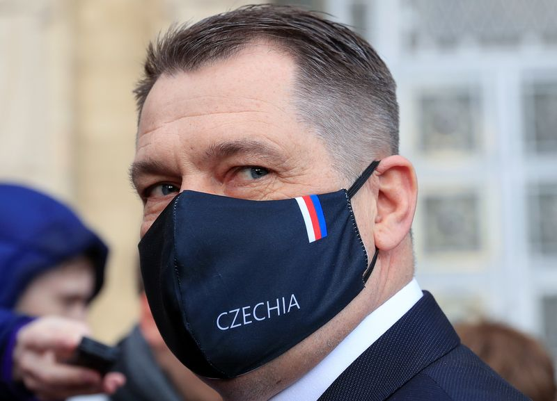 Czech ambassador Pivonka walks out of the Russian Foreign Ministry headquarters in Moscow