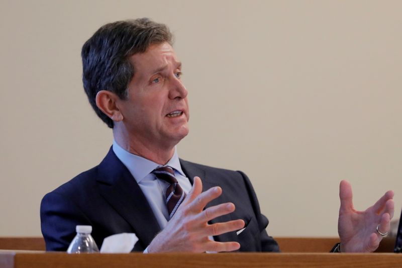 FILE PHOTO: Alex Gorsky, chairman and CEO of Johnson & Johnson, takes the stand as a witness in New Jersey Supreme Court in New Brunswick, New Jersey