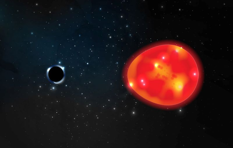 A black hole located approximately 1,500 light years from our solar system is seen in an undated illustration