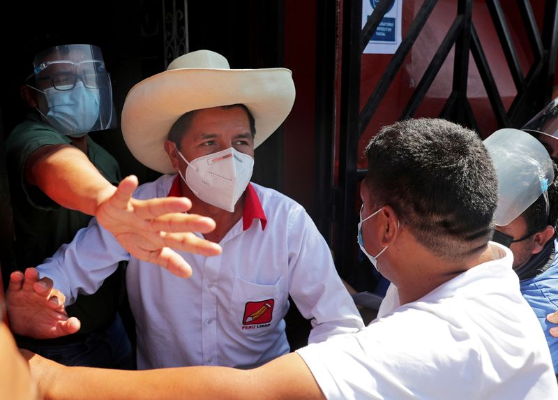 FILE PHOTO: Peru's presidential candidate Castillo arrives at the party headquarters in Lima