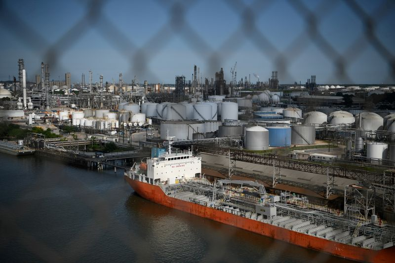 FILE PHOTO: The Houston Ship Channel and adjacent refineries, part of the Port of Houston, are seen in Houston