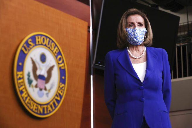 Speaker of the House Nancy Pelosi, D-Calif., holds a news conference on Capitol Hill in Washington, Friday, March 19, 2021. (Chip Somodevilla/Pool via AP)