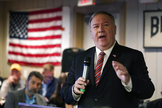 Former Secretary of State Mike Pompeo speaks at the West Side Conservative Club, Friday, March 26, 2021, in Urbandale, Iowa. (AP Photo/Charlie Neibergall)