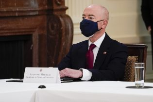 Secretary of Homeland Security Secretary Alejandro Mayorkas attends a Cabinet meeting with President Joe Biden in the East Room of the White House, Thursday, April 1, 2021, in Washington. (AP Photo/Evan Vucci)
