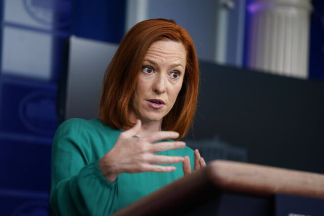 White House press secretary Jen Psaki speaks during a press briefing at the White House, Tuesday, April 6, 2021, in Washington. (AP Photo/Evan Vucci)