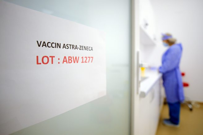"A door sign shows the batch of AstraZeneca vaccine currently used at a vaccination center in Bucharest, Romania, Wednesday, April 7, 2021. British authorities recommended Wednesday that the AstraZeneca COVID-19 vaccine not be given to adults under 30 where possible because of strengthening evidence that the shot may be linked to rare blood clots, a recommendation that came as regulators both in the United Kingdom and the European Union emphasized that the benefits of receiving the vaccine continue to outweigh the risks for most people — even though the European Medicines Agency said it had found a ""possible link"" between the shot and the rare clots.(AP Photo/Vadim Ghirda)"