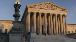 FILE - In this Nov. 6, 2020, file photo, the Supreme Court is seen at sundown in Washington. The Supreme Court is telling California that it can't enforce coronavirus-related restrictions that have limited home-based religious worship including Bible studies and prayer meetings.The order from the court late Friday, April 9, 2021, is the latest in a recent string of cases in which the high court has barred officials from enforcing some coronavirus-related restrictions applying to religious gatherings. (AP Photo/J. Scott Applewhite, File)