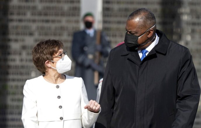 Annegret Kramp-Karrenbauer, Federal Minister of Defence, receives US Secretary of Defence Lloyd Austin at the Federal Ministry of Defence in Berlin, Germany, Tuesday, April 13, 2021. This is the first visit to Germany by a minister of the new US administration. Austin will then travel on to Stuttgart, where he will talk to soldiers at the US