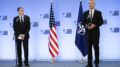 NATO Secretary General Jens Stoltenberg, right, and United States Secretary of State Antony Blinken address a media conference at NATO headquarters in Brussels, Wednesday, April 14, 2021. United States Secretary of State Antony Blinken is in Brussels on Wednesday for talks with European and NATO allies about Afghanistan, Ukraine and other matters. (Johanna Geron, Pool via AP)