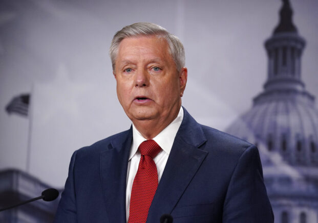 Sen. Lindsey Graham, R-S.C., responds to President Joe Biden's announcement today about ending America's military presence in Afghanistan, at the Capitol in Washington, Wednesday, April 14, 2021. (AP Photo/J. Scott Applewhite)