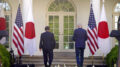President Joe Biden and Japanese Prime Minister Yoshihide Suga leave after a news conference in the Rose Garden of the White House, Friday, April 16, 2021, in Washington. (AP Photo/Andrew Harnik)