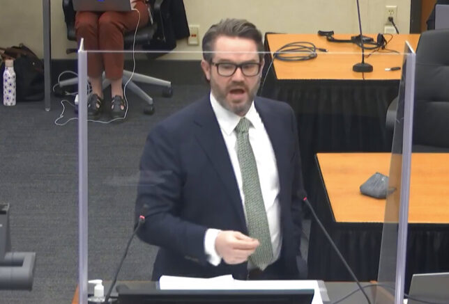 In this image from video, defense attorney Eric Nelson gives closing arguments as Hennepin County Judge PeterCahill presides Monday, April 19, 2021, in the trial of former Minneapolis police Officer Derek Chauvin at the Hennepin County Courthouse in Minneapolis. Chauvin is charged in the May 25, 2020 death of George Floyd. (Court TV via AP, Pool)