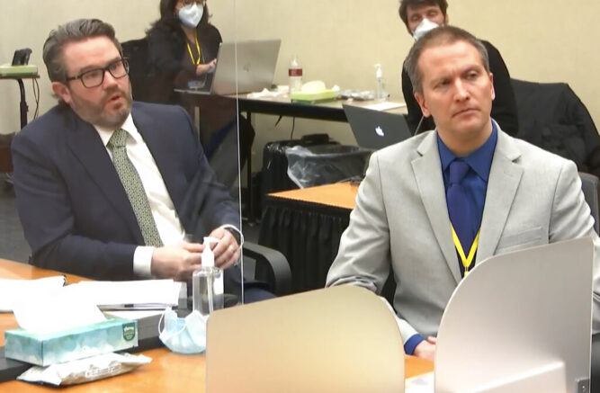 In this image from video, defense attorney Eric Nelson, left, and defendant, former Minneapolis police officer Derek Chauvin, speak to Hennepin County Judge Peter Cahill after the judge has put the trial into the hands of the jury. Monday, April 19, 2021, in the trial of Chauvin, in the May 25, 2020, death of George Floyd at the Hennepin County Courthouse in Minneapolis, Minn. (Court TV via AP, Pool)