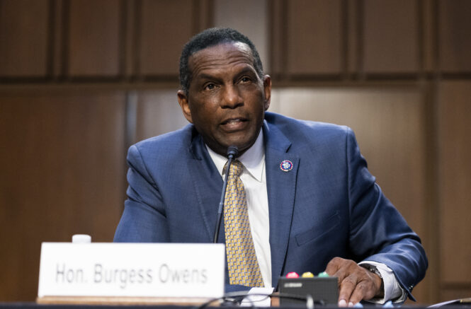 Rep. Burgess Owens, R-Utah, speaks during a Senate Judiciary Committee hearing on voting rights on Capitol Hill in Washington, Tuesday, April 20, 2021. (Bill Clark/Pool via AP)