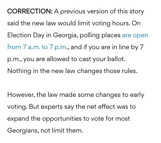 Atlanta-based news outlet retracts false claims about new Ga. elections law limiting times and voter access 2