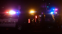 TOPSHOT - Police officers are seen at the intersection of US 101 freeway and the Moorpark Rad exit as police vehicles close off the area responding to a shooting at a bar in Thousand Oaks, California on November 8, 2018. - Twelve people, including a police sergeant, were shot dead in a shooting at a nighttclub close to Los Angeles, police said Thursday. All the victims were killed inside the bar in the suburb of Thousand Oaks late on Wednesday, including the officer who had been called to the scene, Sheriff Geoff Dean told reporters. The gunman was also dead at the scene, Dean added. The bar was hosting a college country music night. (Photo by Frederic J. BROWN / AFP) (Photo credit should read FREDERIC J. BROWN/AFP via Getty Images)