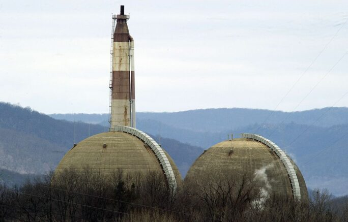 The Indian Point Nuclear Power Plant on the banks of the Hudson River March 22, 2011 in Buchanan, NY. The Indian Point station, comprised of two operating nuclear reactors, sits atop the Ramapo fault line, causing concern for some residents in the wake of the Japan disaster. AFP PHOTO / DON EMMERT (Photo credit should read DON EMMERT/AFP via Getty Images)