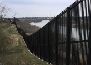 EAGLE PASS, TEXAS - FEBRUARY 09: A border fence is seen near the Rio Grande which marks the boundary between Mexico and the United States on February 09, 2019 in Eagle Pass, Texas. The border has become a point of contention as the U.S. President Donald Trump wants to build a wall and the Democrats in Congress are asking for other border security measures. (Photo by Joe Raedle/Getty Images)