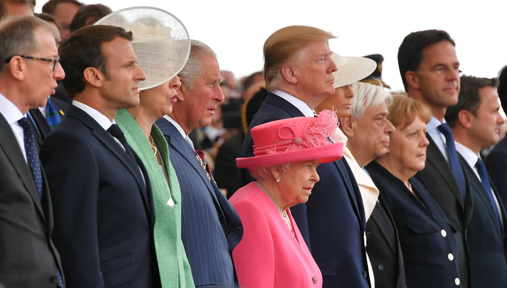 (From L), Philip May, French President Emmanuel Macron, Britain's Prime Minister Theresa May, Britain's Prince Charles, Prince of Wales, Britain's Queen Elizabeth II,US President Donald Trump, US First Lady Melania Trump, Greek President Prokopis Pavlopoulos, German Chancellor Angela Merkel, Dutch Prime Minister Mark Rutte and Luxembourg's Prime Minister Xavier Bettel attend an event to commemorate the 75th anniversary of the D-Day landings, in Portsmouth, southern England, on June 5, 2019. - US President Donald Trump, Queen Elizabeth II and 300 veterans are to gather on the south coast of England on Wednesday for a poignant ceremony marking the 75th anniversary of D-Day. Other world leaders will join them in Portsmouth for Britain's national event to commemorate the Allied invasion of the Normandy beaches in France -- one of the turning points of World War II. (Photo by Mandel NGAN / AFP) (Photo credit should read MANDEL NGAN/AFP via Getty Images)