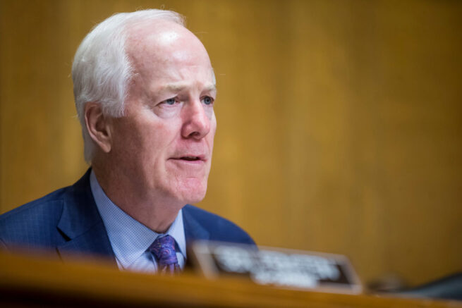 WASHINGTON, DC - JUNE 11: Senate Caucus on International Narcotics Control Chairman Sen. John Cornyn (R-TX) questions U.S. Secretary of State Mike Pompeo during a Senate Caucus on International Narcotics Control hearing on June 11, 2019 in Washington, DC. The hearing examined the federal government's role in combating transnational criminal organizations and partnering with law enforcement on a national, state, and local level. (Photo by Zach Gibson/Getty Images)