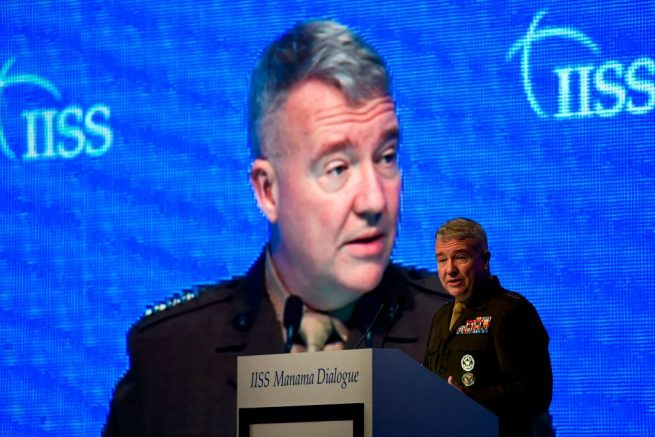 General Kenneth F. McKenzie, Jr., US Central Command (CENTCOM) Commander, addresses a session focused on maritime security during 15th Manama Dialogue, a regional security summit organized by the International Institute for Strategic Studies (IISS), in the Bahraini capital Manama on November 23, 2019. (Photo by Mazen Mahdi / AFP) (Photo by MAZEN MAHDI/AFP via Getty Images)