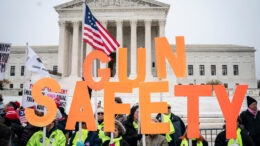 WASHINGTON, DC - DECEMBER 2: Gun safety advocates rally in front of the U.S. Supreme Court before during oral arguments in the Second Amendment case NY State Rifle & Pistol v. City of New York, NY on December 2, 2019 in Washington, DC. Several gun owners and the NRA's New York affiliate challenged New York City laws concerning handgun ownership and and they contend the city's gun license laws are overly restrictive and potentially unconstitutional. (Photo by Drew Angerer/Getty Images)