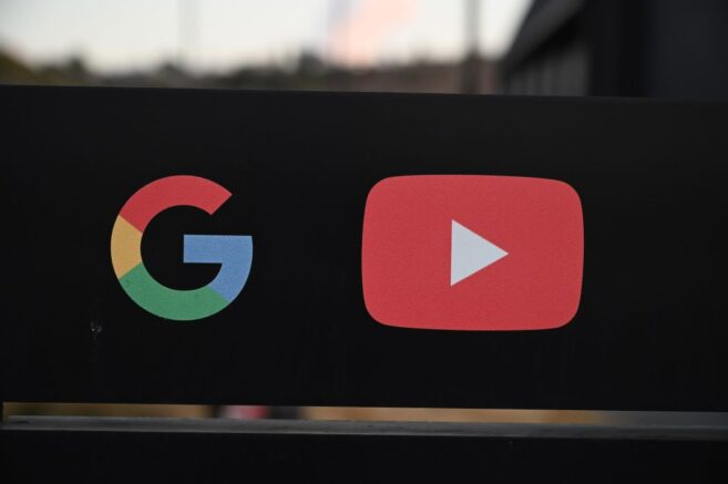 The Google and YouTube logos are seen at the entrance to the Google offices in Los Angeles, California, November 21, 2019. - YouTube Space LA is one of ten facilities worldwide where content creators can produce video content, learn new skills, and collaborate with the YouTube community. YouTube Space and its resources are available at no charge to YouTubers with at least 10,000 subscribers. (Photo by Robyn Beck / AFP) (Photo by ROBYN BECK/AFP via Getty Images)