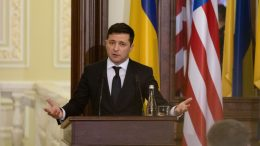 KYIV, UKRAINE - JANUARY 31: Ukraine President Volodymyr Zelensky attends a press conference with US Sec. of State Mike Pompeo at the president's office on January 31, 2020 in Kyiv, Ukraine. The US State Department said the purpose of the trip was to convey support for Ukraine's sovereignty and territorial integrity as it fights a years-long war with Russian-backed separatists in the east. (Photo by Anastasia Vlasova/Getty Images)