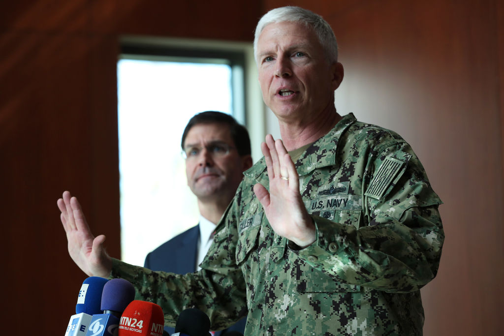 DORAL, FLORIDA - JANUARY 23: (L-R) U.S. Secretary of Defense Mark Esper and U.S. Navy Adm. Craig Faller, commander of U.S. Southern Command, address the media during a press briefing at U.S. Southern Command on January 23, 2020 in Doral, Florida. Esper was conducting his first visit to U.S. Southern Command since swearing in as the 27th Secretary of Defense and met with command leaders, subject matter experts and personnel for updates on the command's lines of efforts, security cooperation with regional partners, and support to the National Defense Strategy. (Photo by Joe Raedle/Getty Images)