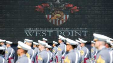 WEST POINT, NY - JUNE 13: West Point graduating cadets gather for commencement ceremonies at Plain Parade Field at the United States Military Academy on June 13, 2020 in West Point, New York. U.S. President Donald Trump addressed the graduating class of 1,107 cadets during a socially-distanced ceremony held amid the COVID-19 pandemic. (Photo by John Minchillo-Pool/Getty Images)