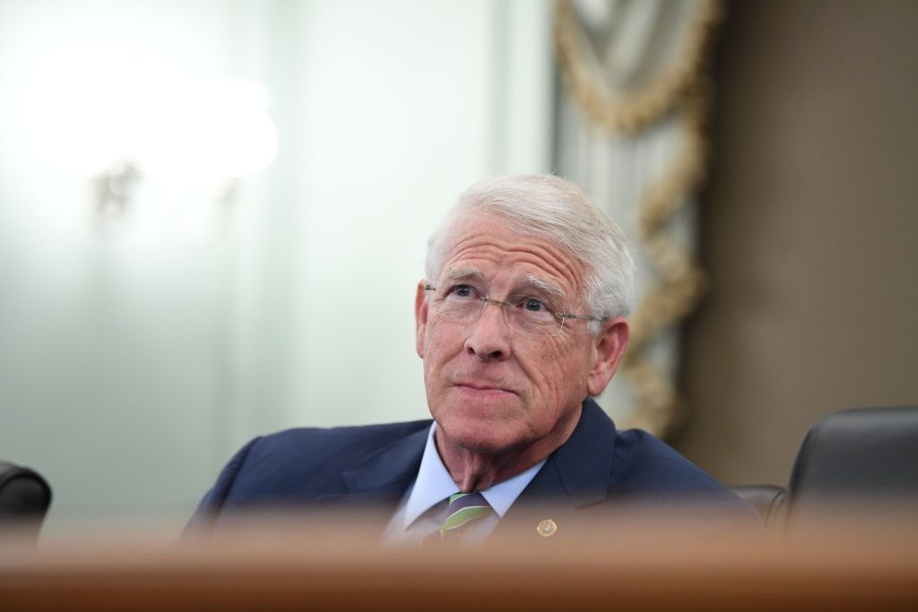 Senator Roger Wicker (R-MS) asks a question during an oversight hearing to examine the Federal Communications Commission on June 24, 2020 in Washington,DC. - The hearing was held by the Senate Committee for Commerce, Science, and Transportation. (Photo by Jonathan Newton / POOL / AFP) (Photo by JONATHAN NEWTON/POOL/AFP via Getty Images)