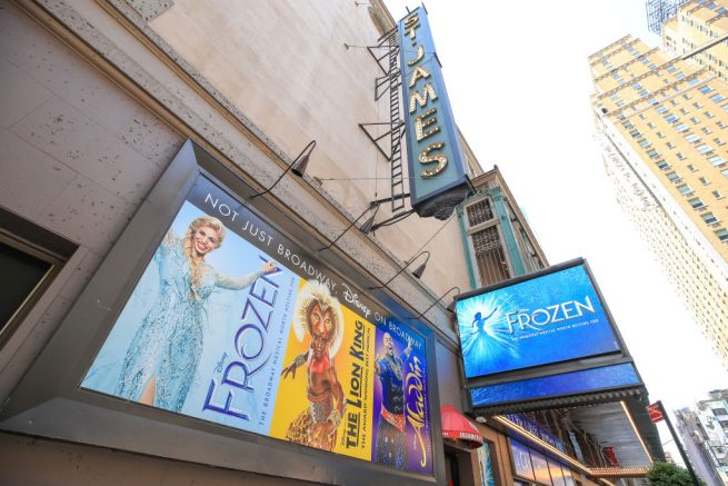 "NEW YORK, NEW YORK - MAY 15: The St. James Theatre remains closed due to the ongoing coronavirus pandemic on May 15, 2020 in New York City. Disney's ""Frozen,"" which was previously showing at Broadway's St. James Theatre, has announced its permanent closure. All Broadway theaters will remain dark through at least September 7, 2020. (Photo by Arturo Holmes/Getty Images)"