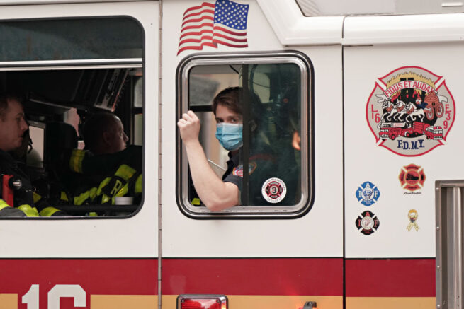 NEW YORK, NEW YORK - MAY 17: FDNY firefighters show gratitude to medical and frontline workers at Lenox Hill Hospital during the coronavirus pandemic on May 17, 2020 in New York City. COVID-19 has spread to most countries around the world, claiming over 316,000 lives with over 4.8 million infections reported. (Photo by Cindy Ord/Getty Images)