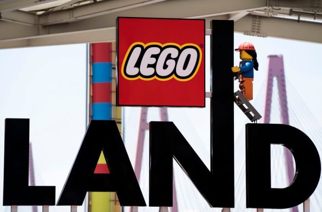 NAGOYA, JAPAN - MAY 23: The Lego logo is displayed at the entrance to the Legoland Japan theme park on May 23, 2020 in Nagoya, Japan. The theme park located in central Japan reopened today. As Covid-19 coronavirus cases continue to abate, the Japanese government announced on May 21 that the state of emergency will be lifted in all areas of the country except for Tokyo and the prefectures of Chiba, Kanagawa and Saitama as well as Hokkaido. (Photo by Tomohiro Ohsumi/Getty Images)