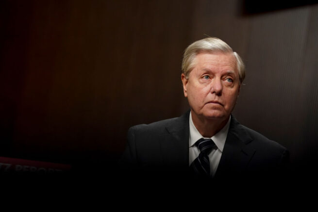 WASHINGTON, DC - SEPTEMBER 30: Chairman of the Senate Judiciary Committee Sen. Lindsey Graham (R-SC), waits to begin a hearing on Wednesday, September 30, 2020 on Capitol Hill in Washington, DC. The committee is exploring the FBI's investigation of the 2016 Trump campaign and Russian election interference. (Photo by Stefani Reynolds-Pool/Getty Images)