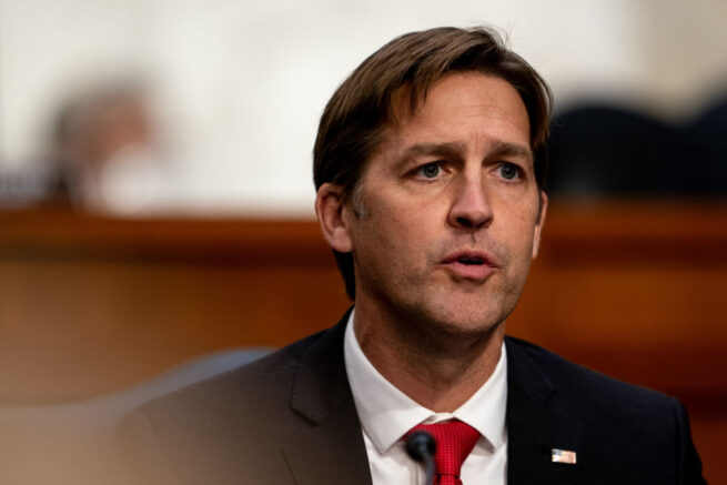 WASHINGTON, DC - OCTOBER 12: U.S. Sen. Ben Sasse (R-NE) speaks during Supreme Court Justice nominee Judge Amy Coney Barrett's Senate Judiciary Committee confirmation hearing for Supreme Court Justice in the Hart Senate Office Building on October 12, 2020 in Washington, DC. With less than a month until the presidential election, President Donald Trump tapped Amy Coney Barrett to be his third Supreme Court nominee in just four years. If confirmed, Barrett would replace the late Associate Justice Ruth Bader Ginsburg. (Erin Schaff-Pool/Getty Images)