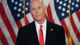 US Senator Rick Scott, Republican of Florida, speaks to the media before the weekly Senate Republican lunch on Capitol Hill in Washington, DC, November 10, 2020. - A week after losing the US election, President Donald Trump remained shut up in the White House on November 10, 2020, pushing an alternate reality that he is about to win and blocking Democrat Joe Biden's ability to prepare the transition. (Photo by SAUL LOEB / AFP) (Photo by SAUL LOEB/AFP via Getty Images)