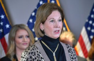 A November 19, 2020 photo shows Sidney Powell speaking during a press conference at the Republican National Committee headquarters in Washington, DC. - US President Donald Trump's personal lawyer Rudy Giuliani and campaign lawyer Jenna Ellis reportedly said that Powell is not a member of the Trump legal team. (Photo by MANDEL NGAN / AFP) (Photo by MANDEL NGAN/AFP via Getty Images)