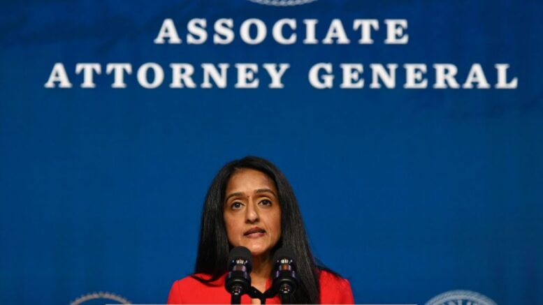 Vanita Gupta, nominee for Associate Attorney General, speaks after being nominated by US President-elect Joe Biden at The Queen theater January 7, 2021 in Wilmington, Delaware. (Photo by JIM WATSON / AFP) (Photo by JIM WATSON/AFP via Getty Images)