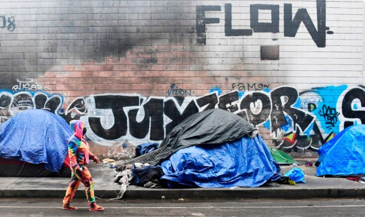 """A woman walks past tents for the homeless lining a street in Los Angeles, California on February 1, 2021. - The federal judge overseeing attempts to resolve the homeless situation has called for an urgent meeting to discuss worsening conditions and the poor official response. Combined now with the coronaviruspandemic and worsening mental health and substance abuse issues, US District Judge David Carter who toured Skid Row last week likened the situation to """"a significant natural disaster in Southern California with no end in sight."""" (Photo by Frederic J. BROWN / AFP) (Photo by FREDERIC J. BROWN/AFP via Getty Images)"""