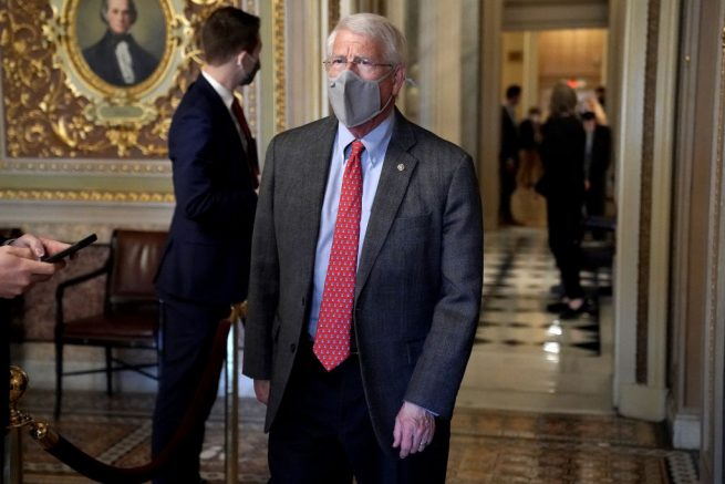 WASHINGTON, DC - FEBRUARY 13: Sen. Roger Wicker (R-MS) is seen in the Senate Reception room as the Senate takes a short recess on the fifth day of the Senate Impeachment trials for former President Donald Trump on Capitol Hill on February 13, 2021 in Washington, DC. The Senate will hear closing arguments and possibly vote on whether to convict former President Donald Trump for inciting the insurrection at the Capitol on January 6. (Photo by Greg Nash - Pool/Getty Images)